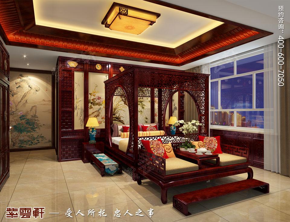 山西平层大宅现代中式风格装修效果图欣赏,主卧中式风格装修