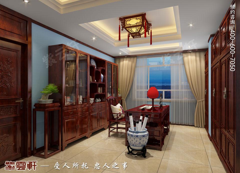 山西平层大宅现代中式风格装修效果图欣赏,书房中式设计图