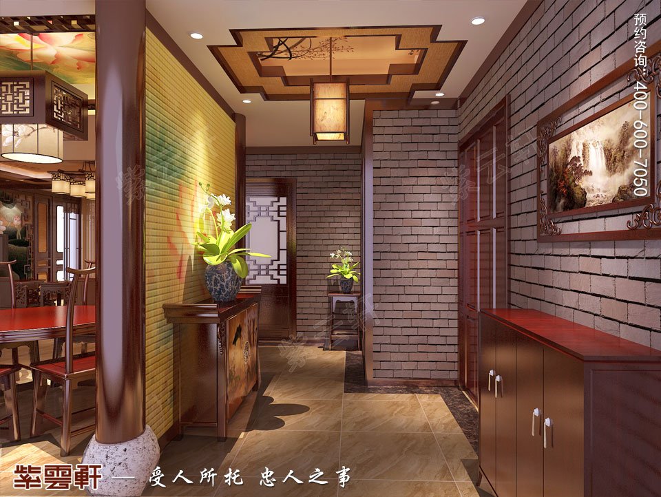 郑州复式简约中式装修效果图,门厅中式设计效果图