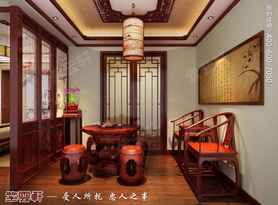 郑州复式简约中式装修效果图,茶室中式装修