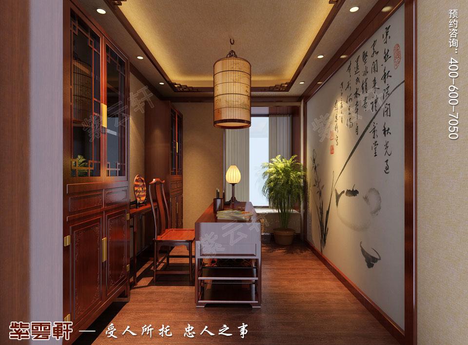 郑州复式简约中式装修效果图,书房中式风格设计