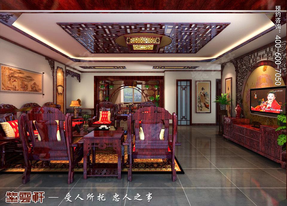 营口现代中式装修设计效果图,客厅中式装修效果图
