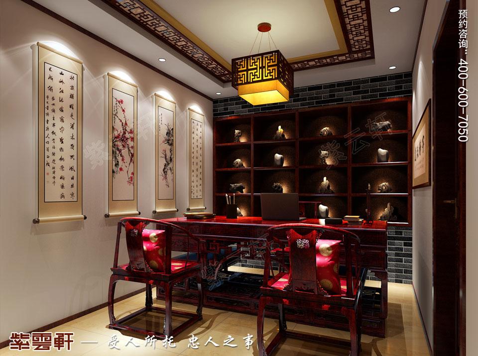 保定复式现代中式装修效果图,书房中式装修