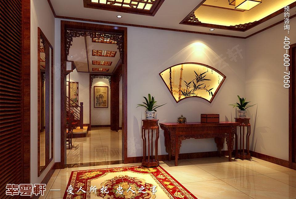 哈尔滨复式洋房现代中式风格装修图片,门厅中式装修