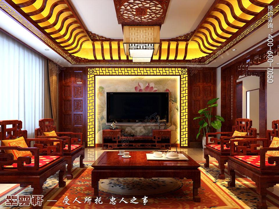 哈尔滨复式洋房现代中式风格装修图片,中式客厅设计