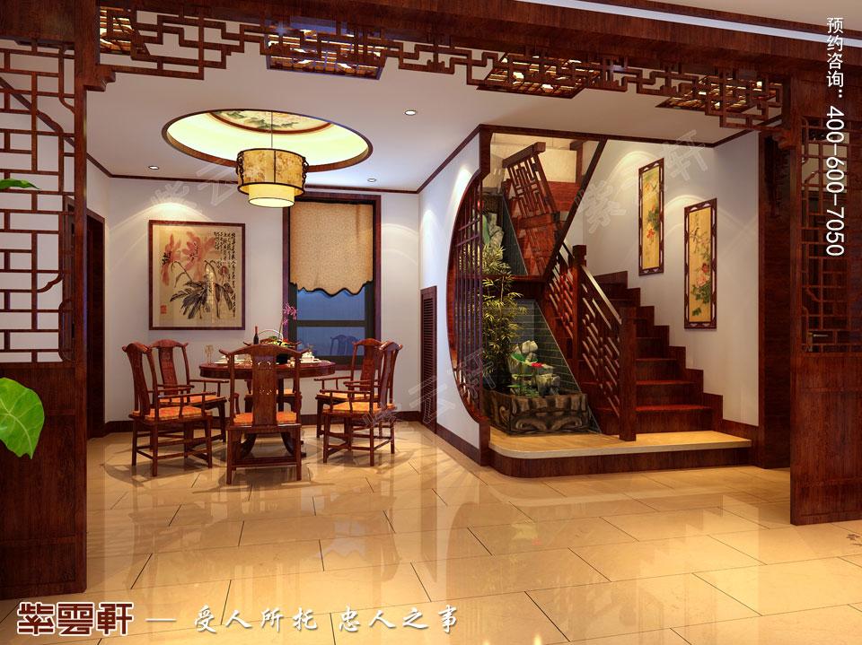 哈尔滨复式洋房现代中式风格装修图片,楼梯处中式装修