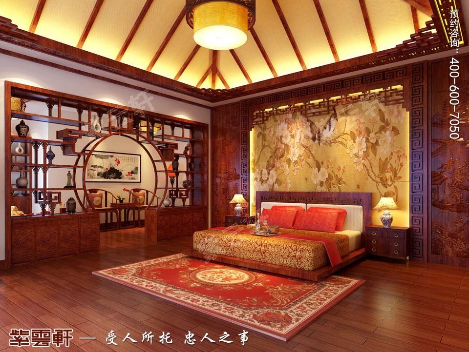 哈尔滨复式洋房现代中式风格装修图片,主卧中式装修