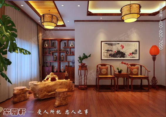 哈尔滨复式洋房现代中式风格装修图片,中式茶室设计装修