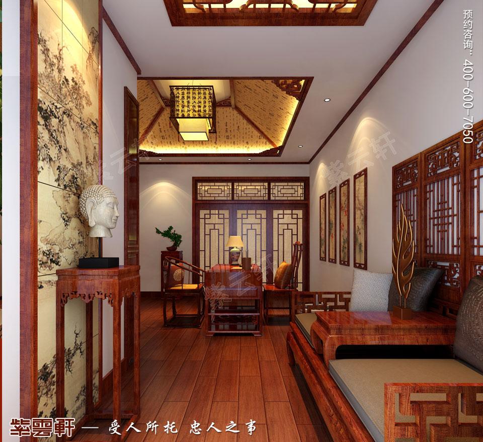 哈尔滨复式洋房现代中式风格装修图片,书房中式装修