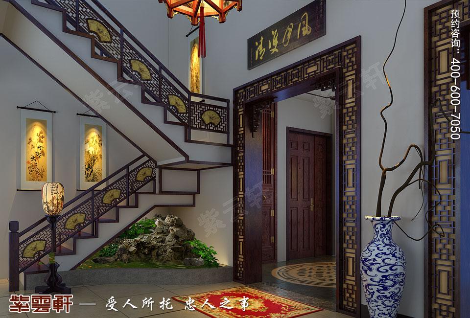 辽宁盘锦复式楼的简约复古中式风格,过厅中式装修