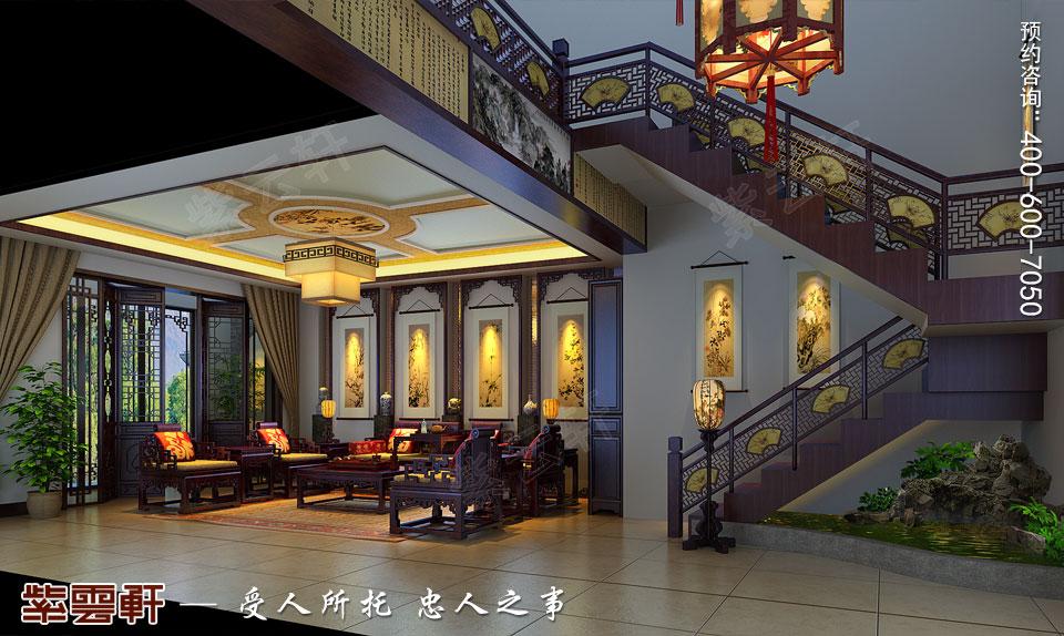 辽宁盘锦复式楼的简约复古中式风格,客厅中式装修
