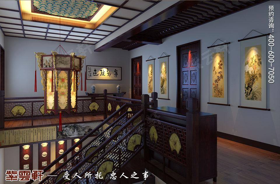 辽宁盘锦复式楼的简约复古中式风格,楼梯处中式装修
