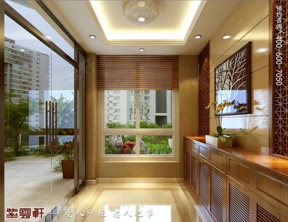 南通复式楼现代新中式风格装修效果图,中式门厅装修图