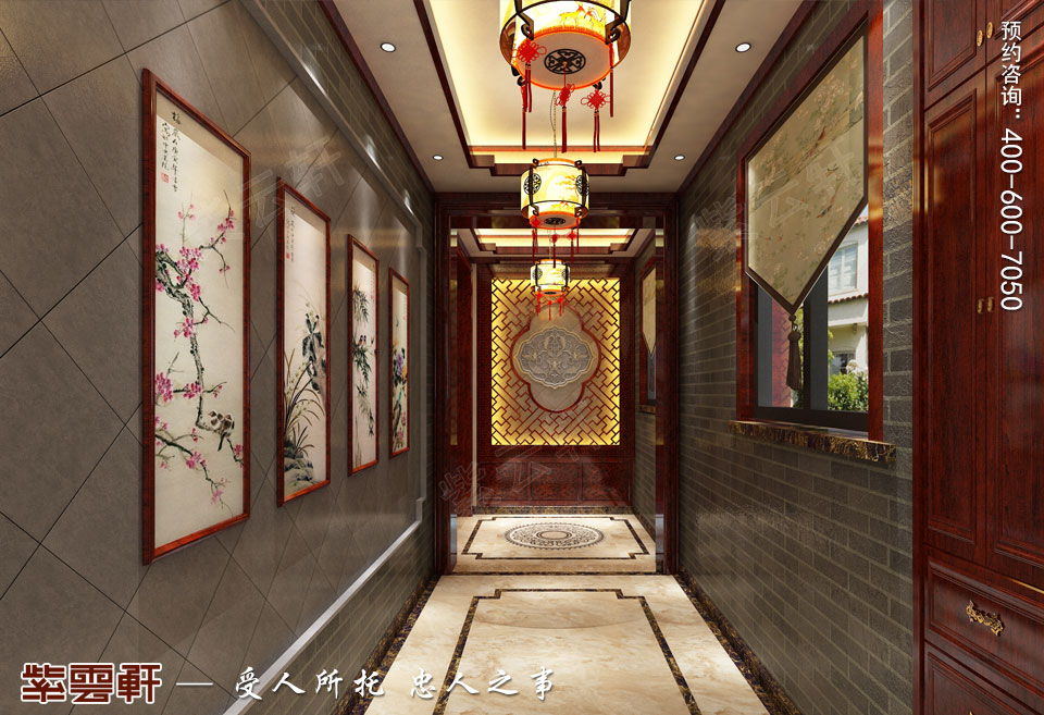 保定复式楼现代中式装修效果图,门厅中式装修