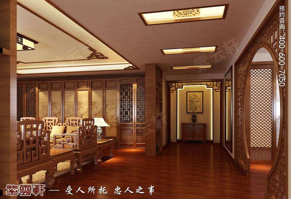 保定复式楼现代中式装修效果图,客厅中式设计