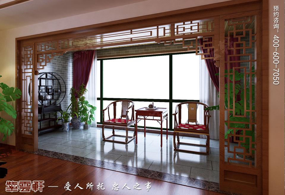 保定复式楼现代中式装修效果图,阳台中式设计