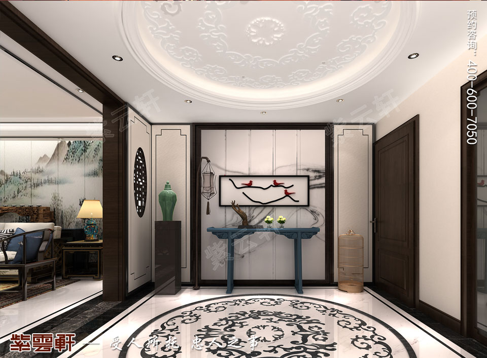 天津时尚新中式复式楼效果图,门厅中式设计