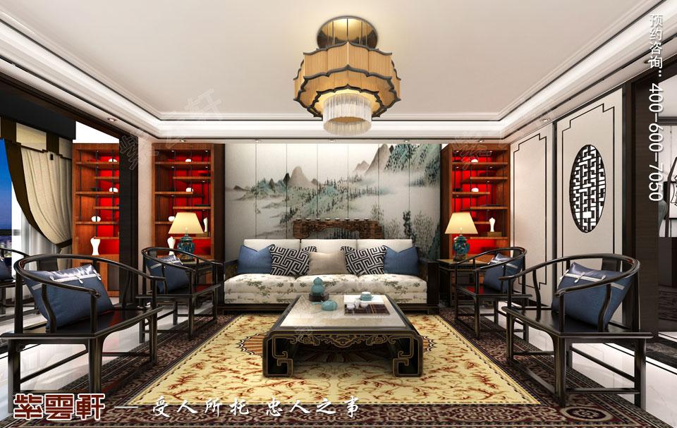 天津时尚新中式复式楼效果图,客厅中式装修