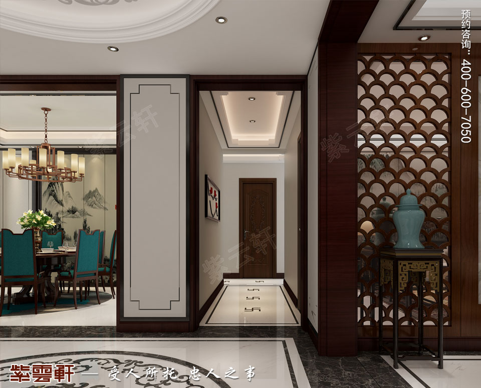 天津时尚新中式复式楼效果图,过道中式设计