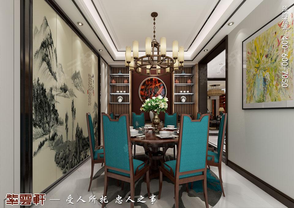 天津时尚新中式复式楼效果图,餐厅中式设计