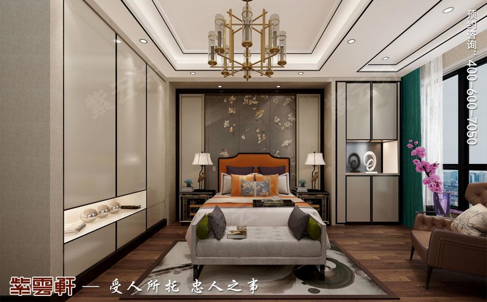 天津时尚新中式复式楼效果图,主卧中式装修