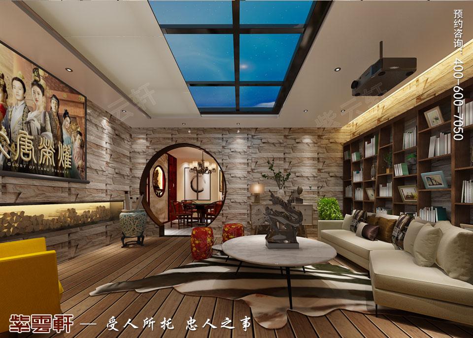 天津时尚新中式复式楼效果图,起居室中式设计