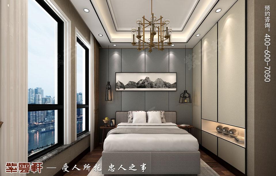 天津时尚新中式复式楼效果图,次卧中式设计