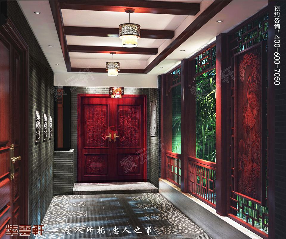 陕西西安复式古典中式风格装修,入户花园中式设计
