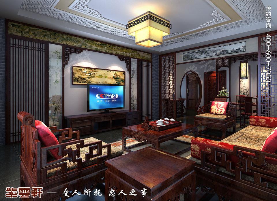 山西太原复式楼新中式装修风格,中式客厅装修效果图