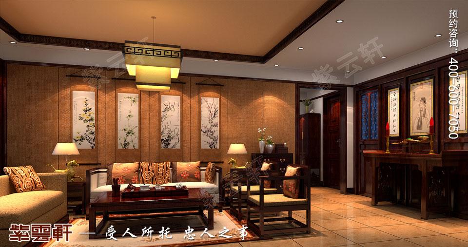 山西太原复式楼新中式装修风格,起居室中式装修