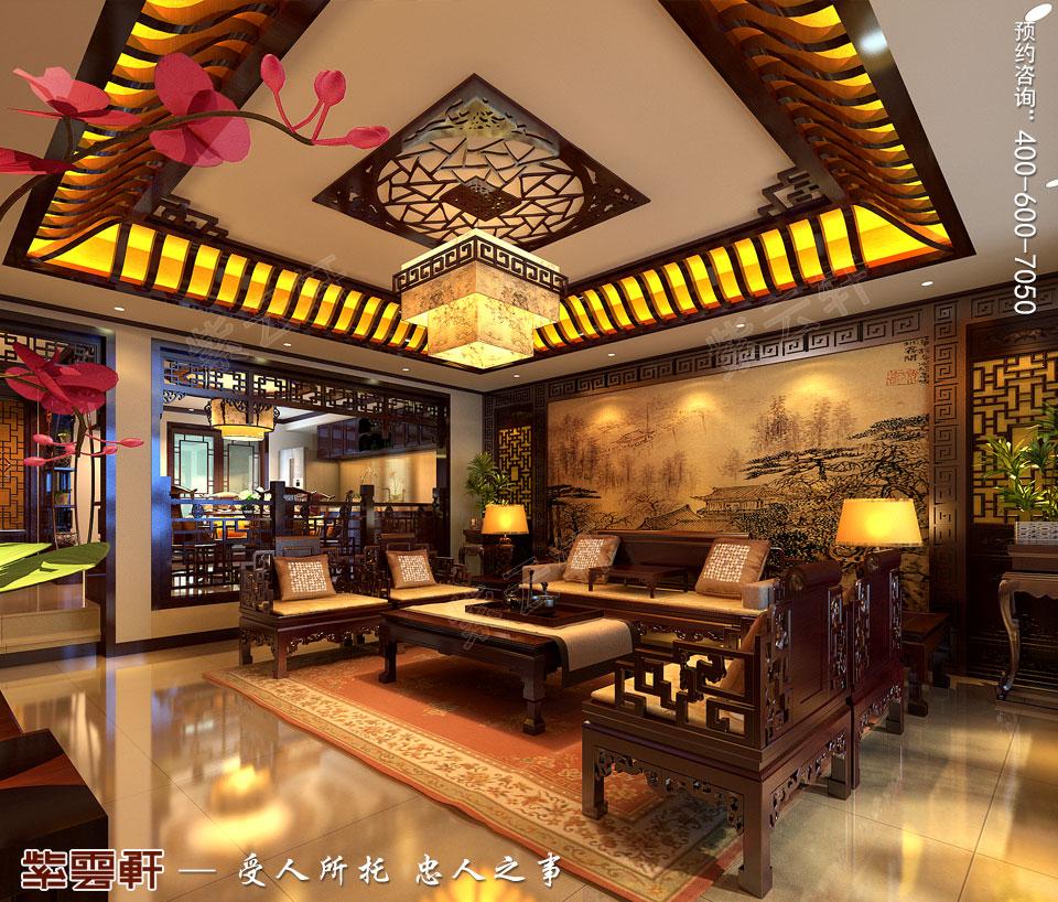 北京长安山麓顶楼复式现代中式装修效果图,中式客厅设计图
