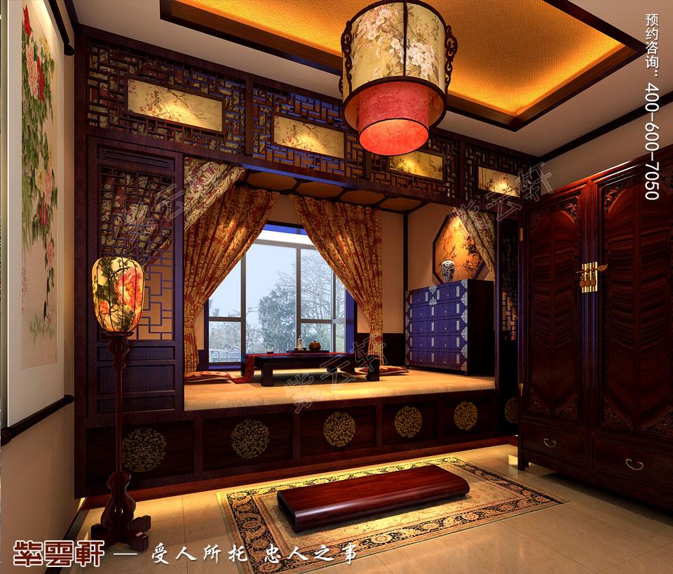 北京长安山麓顶楼复式现代中式装修效果图,暖阁中式设计