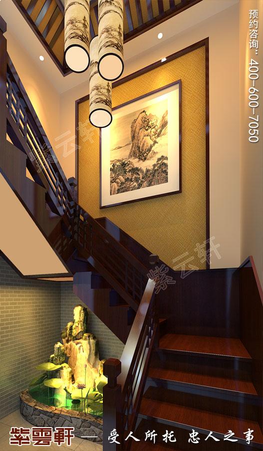 北京长安山麓顶楼复式现代中式装修效果图,楼梯间中式设计