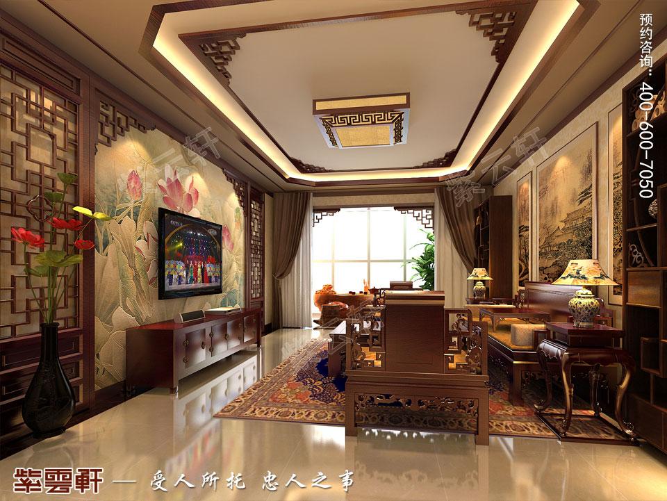 北京长安山麓顶楼复式现代中式装修效果图,起居室中式装修
