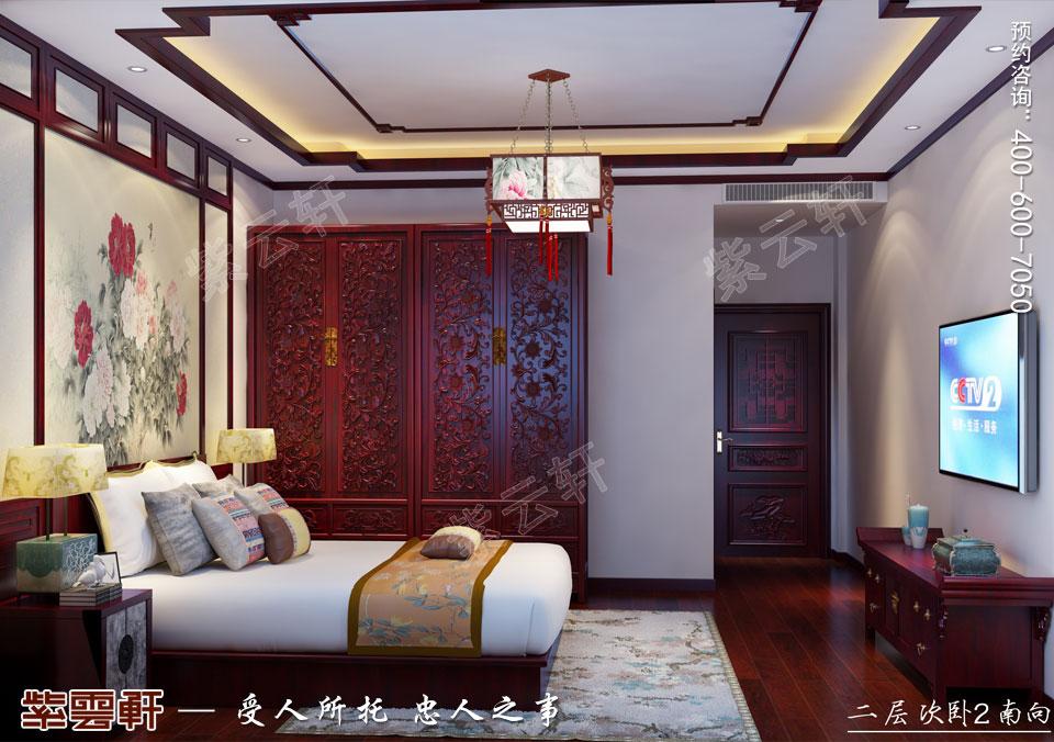 北京长安山麓顶楼复式现代中式装修效果图,次卧中式设计