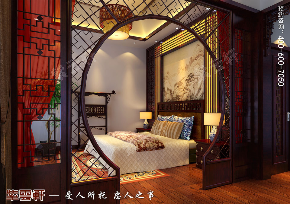 北京长安山麓顶楼复式现代中式装修效果图,主卧中式装修效果图