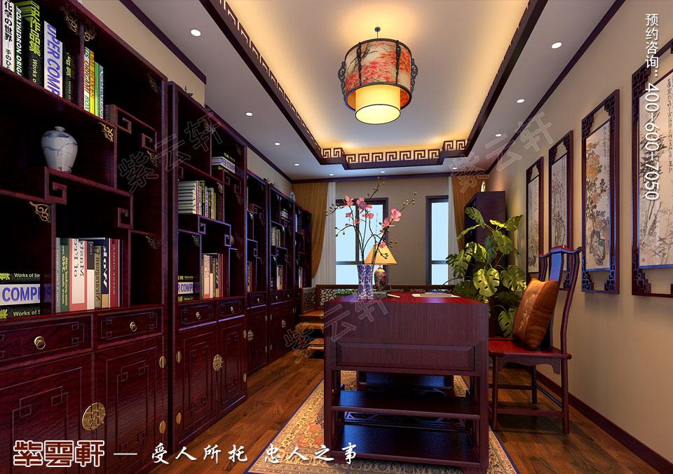 北京长安山麓顶楼复式现代中式装修效果图,书房中式装修