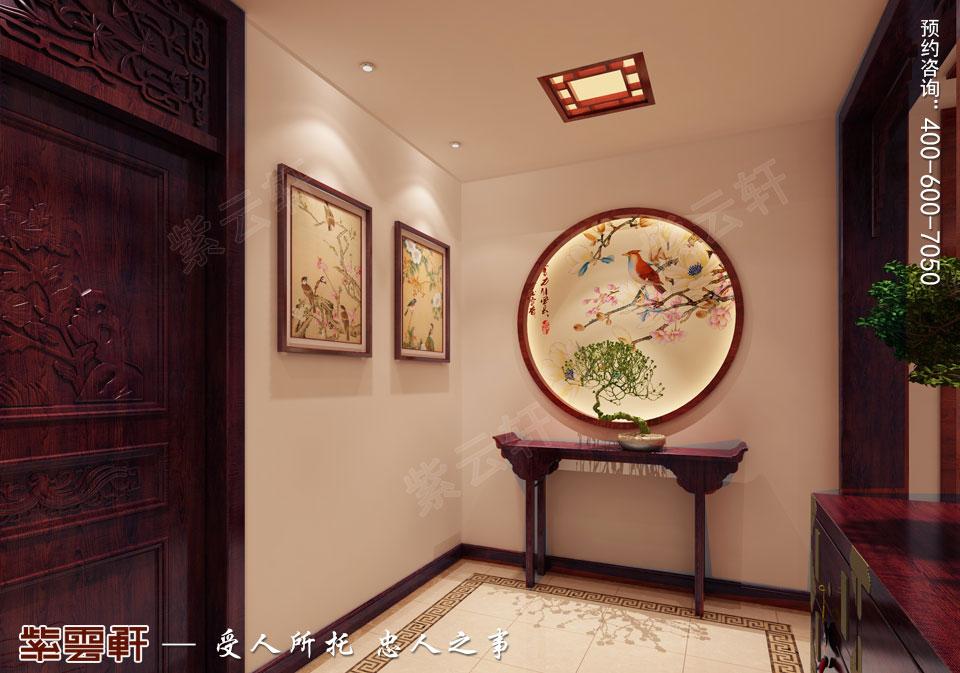 昆山吴先生复式楼古典中式装修效果图,玄关中式装修