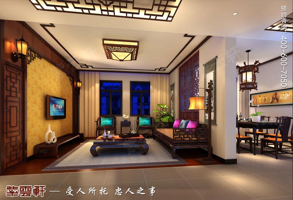 昆山吴先生复式楼古典中式装修效果图,客厅中式装修设计