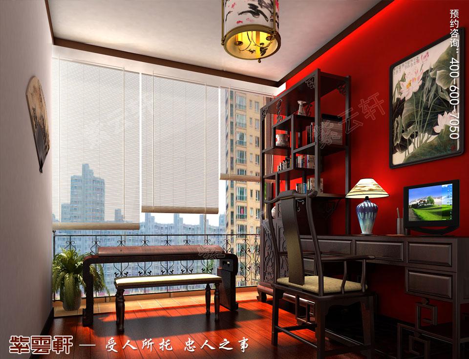 昆山吴先生复式楼古典中式装修效果图,阳台中式设计