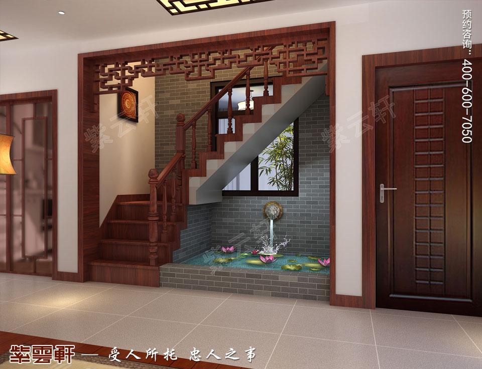 昆山吴先生复式楼古典中式装修效果图,楼梯间中式设计