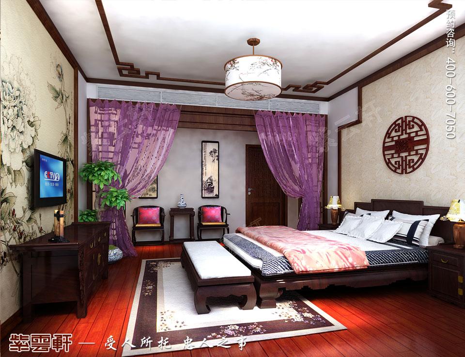 昆山吴先生复式楼古典中式装修效果图,主卧中式装修图