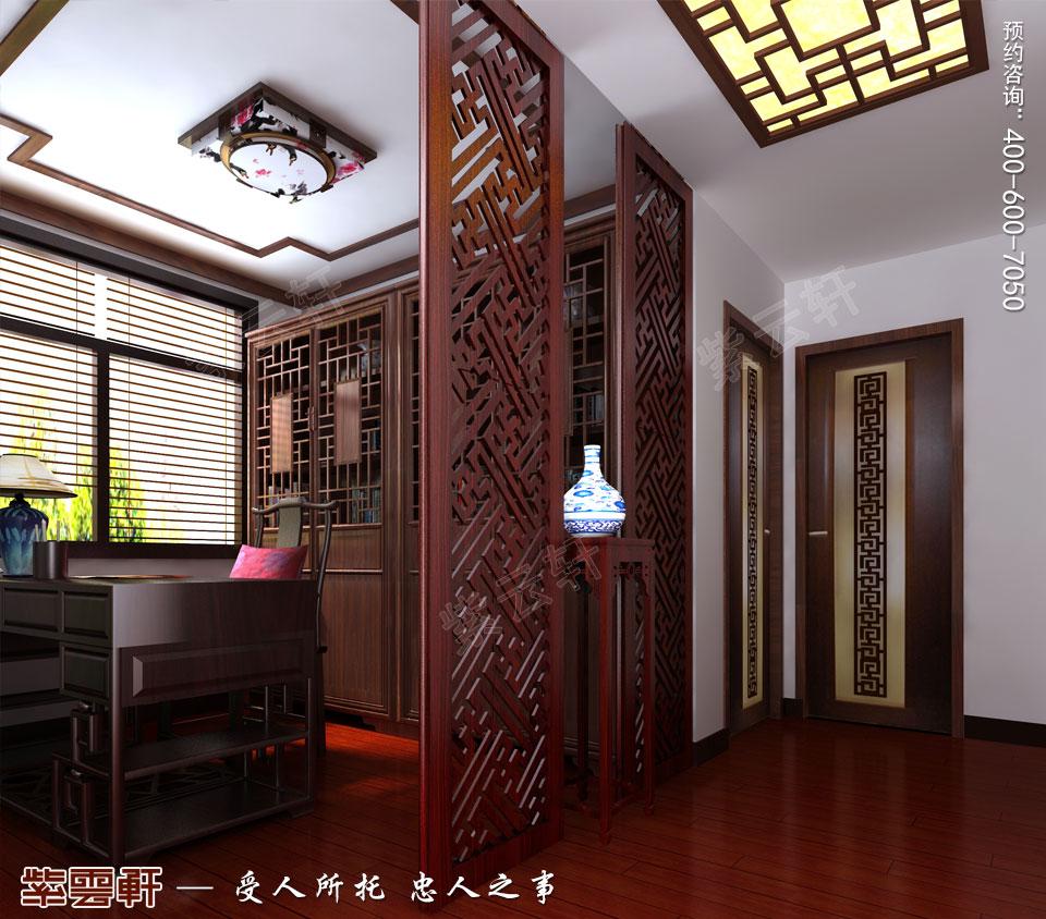 昆山吴先生复式楼古典中式装修效果图,中式风格书房设计装修