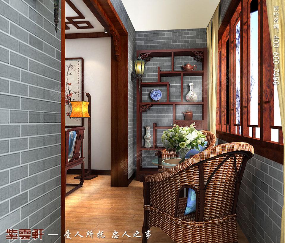 昆山吴先生复式楼古典中式装修效果图,阳台中式装修设计