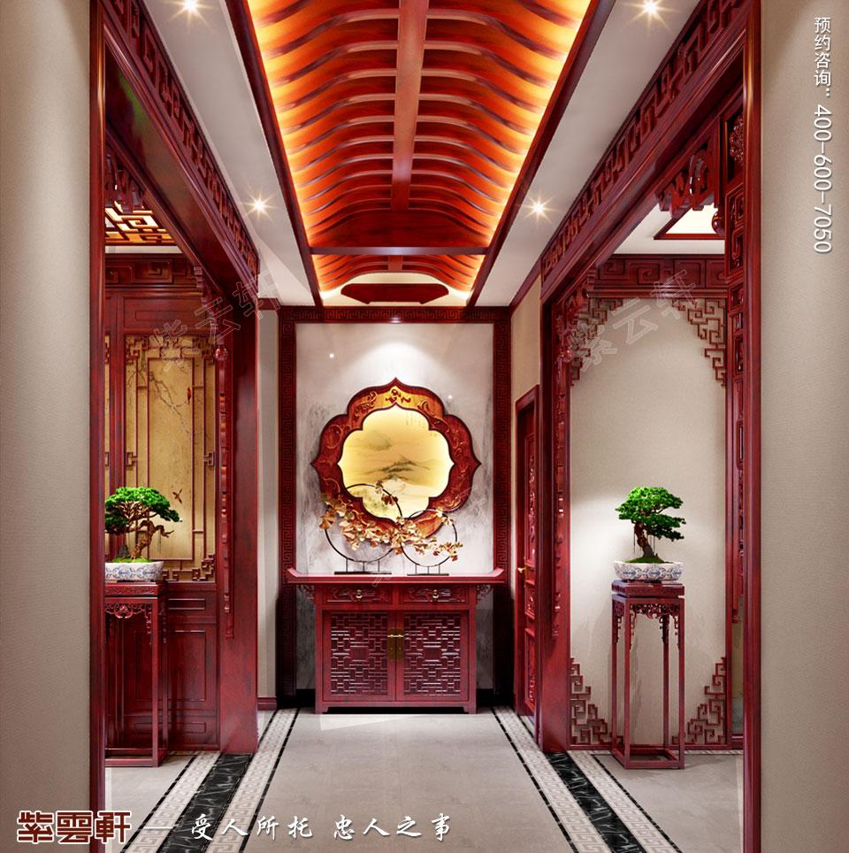 湖北十堰顶楼复式简约复古中式风格装修案例,中式门厅设计
