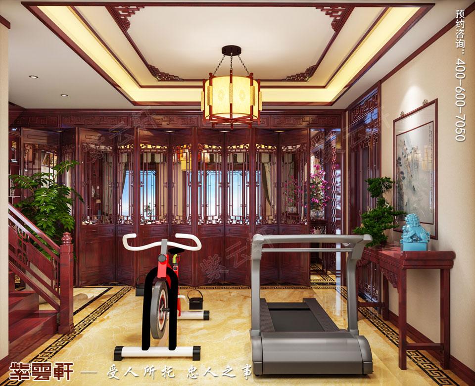 湖北十堰顶楼复式简约复古中式风格装修案例,健身区中式装修
