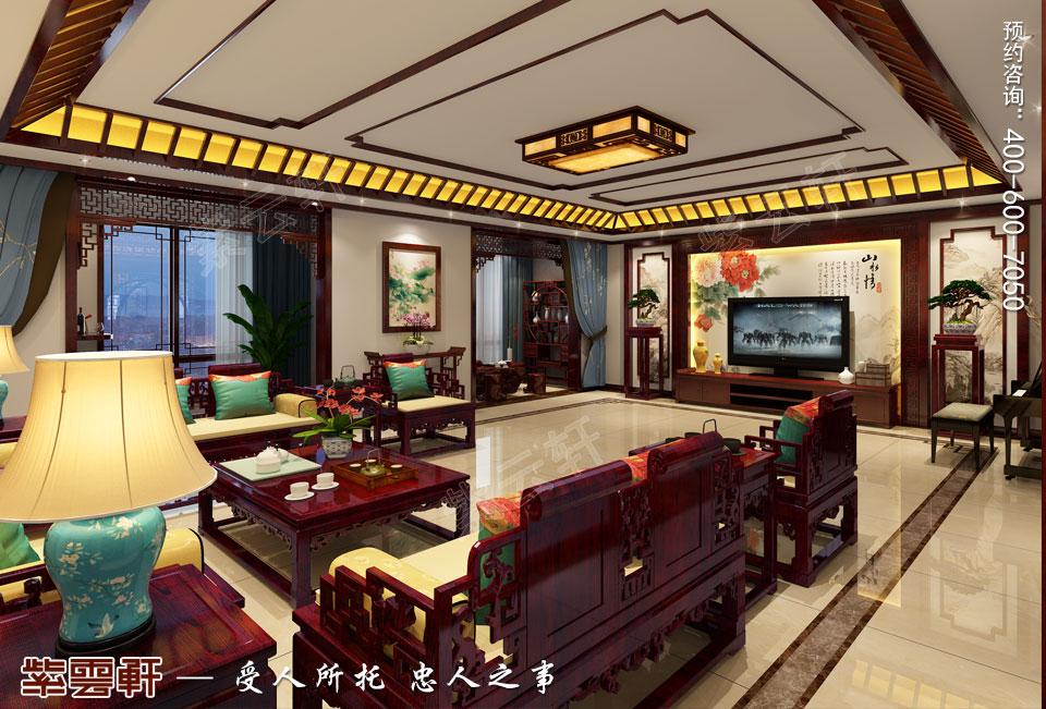 张家口简约古典中式装修复式楼效果图,中式风格客厅设计图