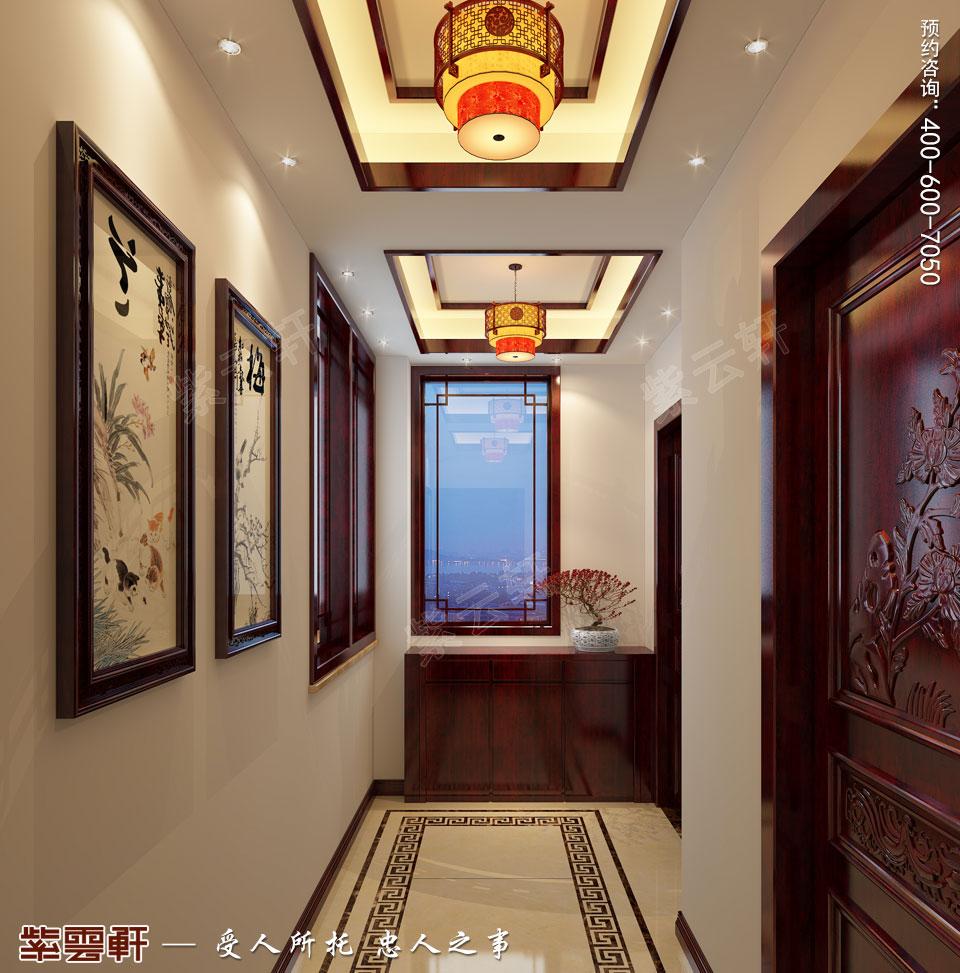 张家口简约古典中式装修复式楼效果图,门厅中式装修效果图
