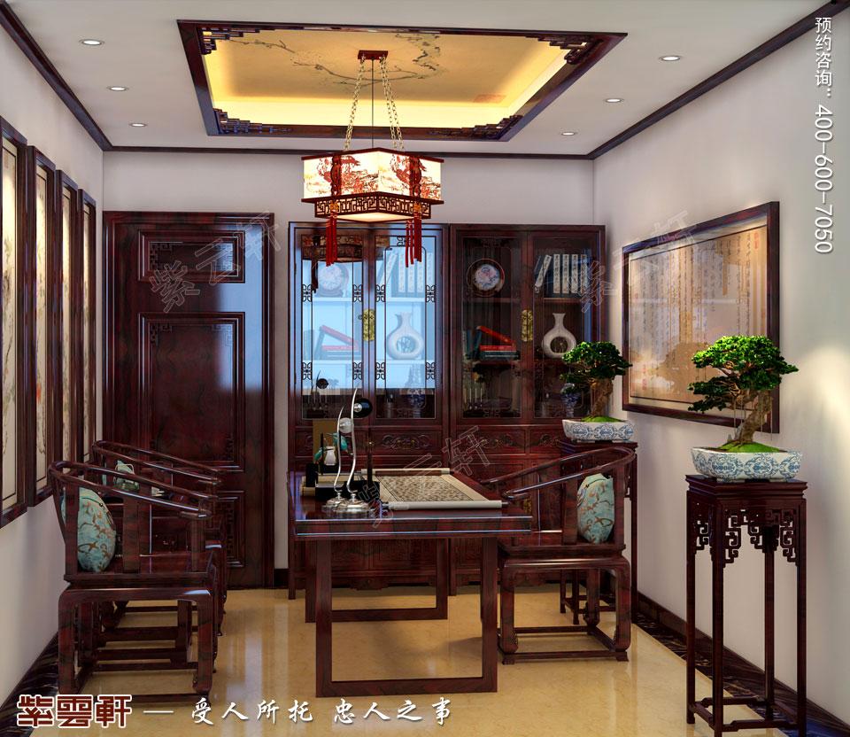 张家口简约古典中式装修复式楼效果图,书房中式装修设计