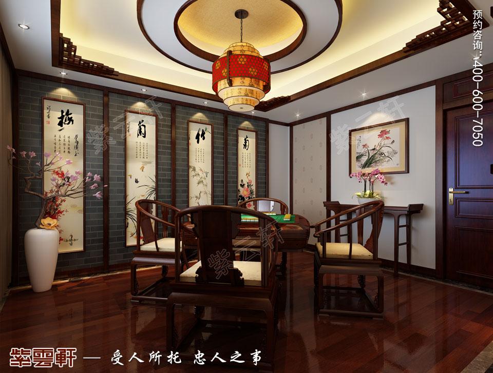 张家口简约古典中式装修复式楼效果图,佛堂休闲区中式设计